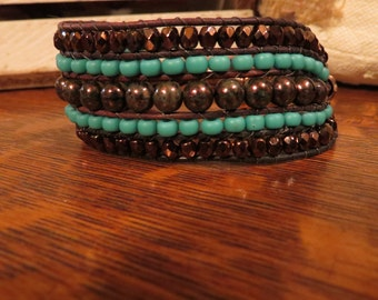 Sparkly browns & turquoise five row cuff bracelet!