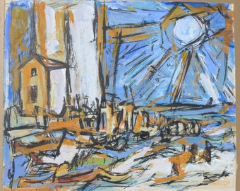 Abstract Expressionist Harbor Scene
