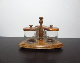 vintage wooden and glass condiment set - Condiment Caddy