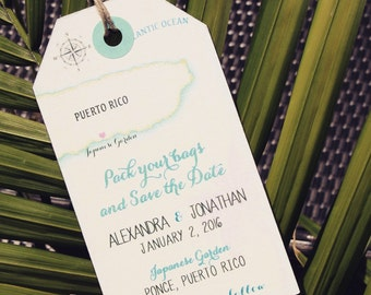 Wedding Invitation Puerto Rico Save The Date Luggage Tag Magnet Destination