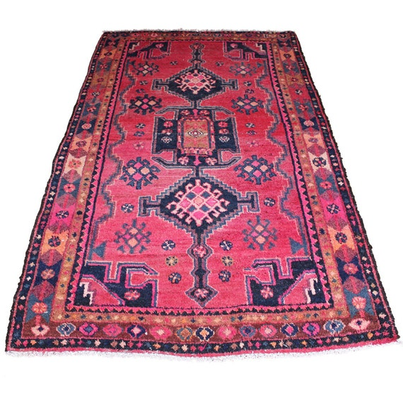 Vintage Persian Rug Pink & Blue