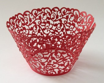 12 pcs Beautiful Red Lace Wedding Filigree Cupcake Liners Liner Baking Cup Cupcake Wrapper Wrappers Red Cupcake Wrappers