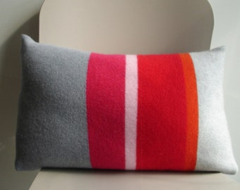 cushion throw pillow knitted in pure lambswool with feather cushion pad red