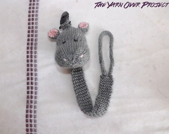 Hand-Knit Hippo Pacifier Clip - Knit Pacifier Leash - Pacifier Clip - Knitted Soother Clip