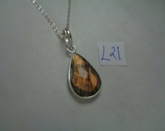 Natural Faceted Labradorite Pendant with Chain, 12.2 ct. TeardropLabradorite Necklace