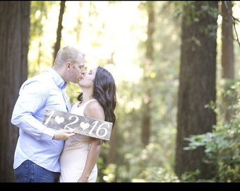 Rustic hand painted custom Wedding date sign photo prop- save the date
