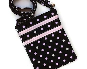 Crossbody bag, pink and black, silver and black, polka dots, shoulder bag, cellphone purse, Kindle bag, tablet purse, e-reader bag