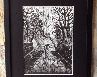 "Original hand pulled linocut print. ""The Rake"", limited edition of 8."