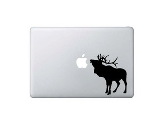 Moose/Elk/Caribou Eating Apple - Macbook Decal - Home/Laptop/Computer/Phone/Car Bumper Sticker Decal