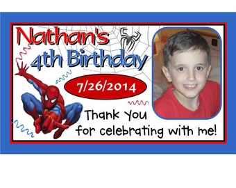 12 Spiderman Birthday Party Favors Personalized photo MAGNETS ~ FREE SHIPPING