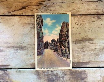 State Park Post Card, Needles, Black Hills South Dakota, Custer State Park, Vintage Scrapbooking Supplies