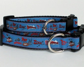 Blue Superhero Dog Collar