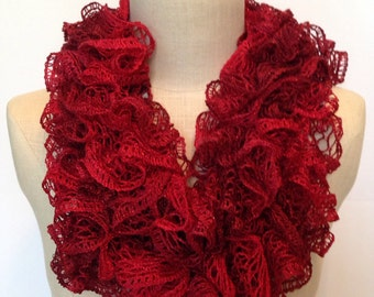 Crochet Ruffle Scarf, Crochet Scarf, Handmade Scarf in Red, Crocheted Red Infinity Scarf