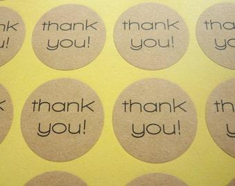 48 x Brown Kraft Paper Round 'Thank you!' Stickers 3 x 3cm