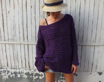 off the shoulder sweaters/purple sweater / chunky wool sweater/ handknit sweater/ Oversized Sweater/ Loose knit sweater