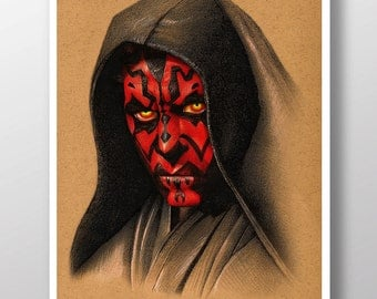 Darth Maul from Star Wars: The Phantom Menace  - Illustrated Giclee Print