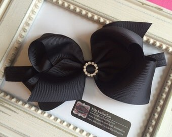 Bow Headband Black Sparkly Bow Headband Large Bow with Rhinestone Circle Headband Birthday Headband Easter Headband 1st Birthday Headband