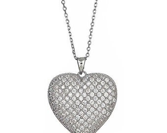 Sterling Silver Heart Pendant + Chain Gift Set  .925