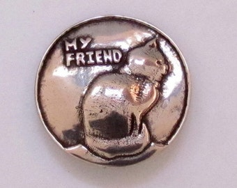 "My Friend Cat Button - Shank Button - 1"" Diameter - B4141"