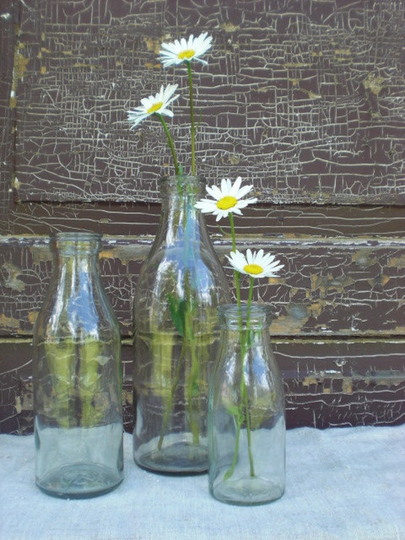 Vintage rustic wedding centerpiece bottle home decor old clear