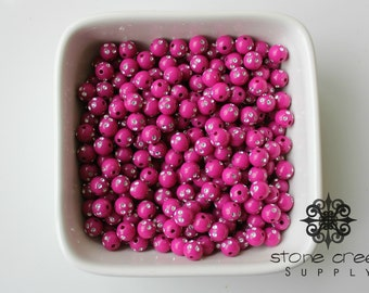 50 - 8mm Raspberry Fuschia Bling Rhinestone Foil Acrylic Resin Round Bead - DIY -  6031152