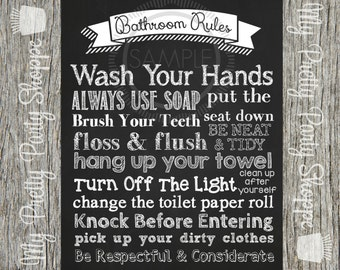 Printable 8x10 Bathroom Rules Sign / Wall Art *INSTANT DOWNLOAD*