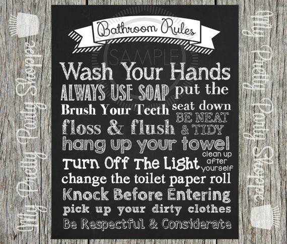 Pleasing Bathroom Rules Printable Sign Printable 8X10 Bathroom Rules Interior Design Ideas Ghosoteloinfo