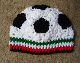 Crochet Soccer Hat in Mexico colors.  Available in Sizes: Newborn, 0-3 Mths, and 3-6 Mths.