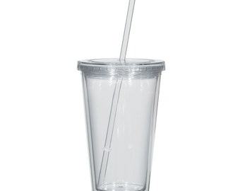 16oz Clear Plastic Tumbler with Straw and Lid, Blank