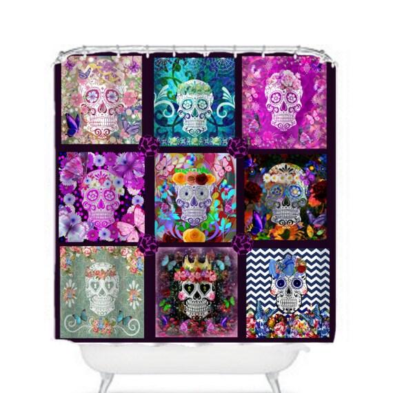 items similar to sugar skull shower curtain sugar skull quilt design on etsy. Black Bedroom Furniture Sets. Home Design Ideas