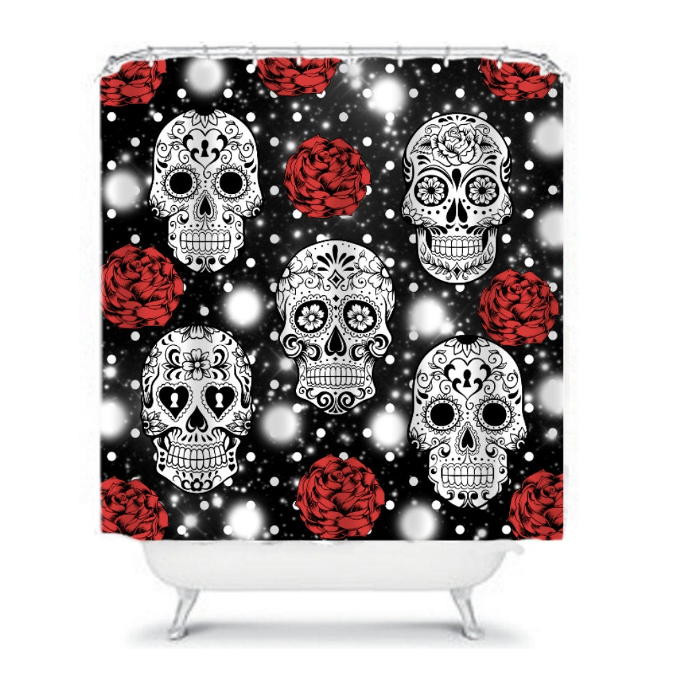 Shower Curtain Sugar Skull Black White Red Roses