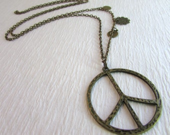Long Peace Sign Necklace