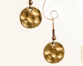 SALE, Drop Disc Earring, Hammered Earrings, Bohemian Earrings, Boho jewelry