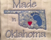 Made in Oklahoma boy or girl  5x7 Hus, Pes, Dst, Vip, Jef
