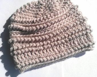 3-6 mths+ Woollen Crochet Baby Beanie Hat bone beige boy or girl