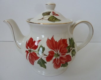 Vintage Cuthbertson of England Poinsettia Teapot Coffee Pot Mint!