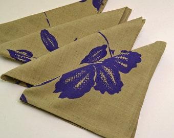 Napkins Purple Flowers on Khaki Cotton Set of 4