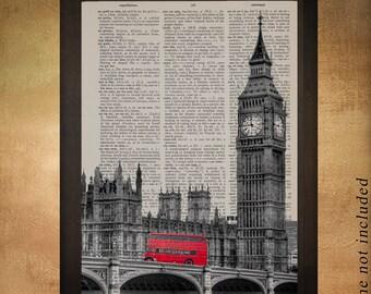 London Parliament Building Red Bus Dictionary Art Print England UK Britain Travel Gift Ideas Wall Art Decor da786