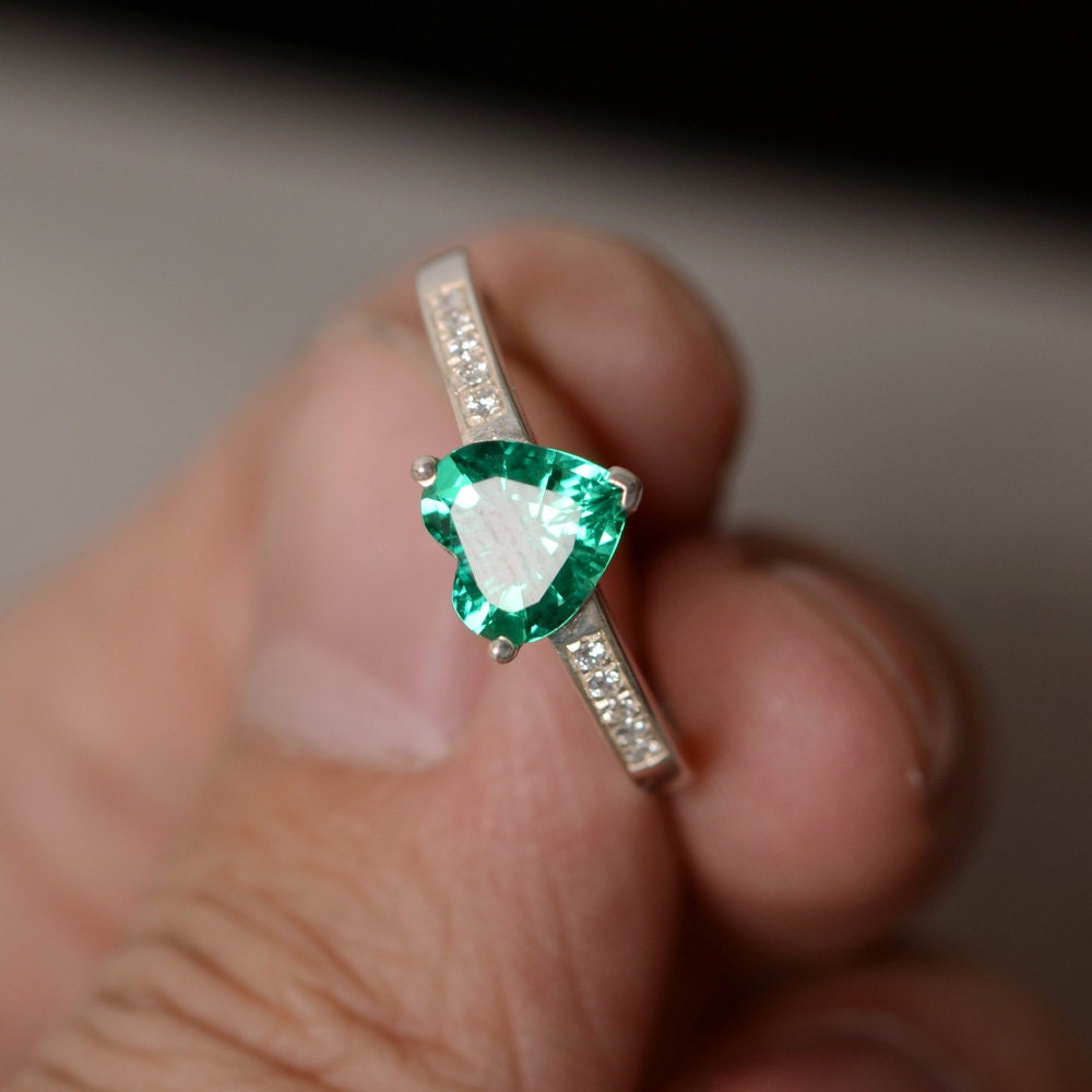 Lab Emerald Ring Heart Gemstone Ring Promise Ring For Her May