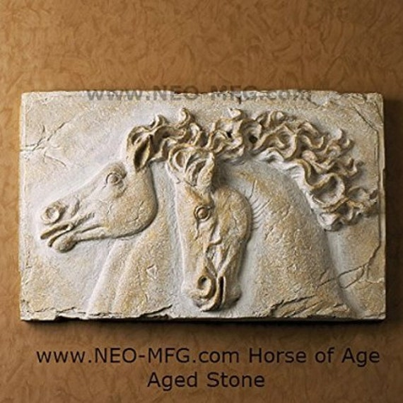 Horse of age stone carving sculpture wall frieze large