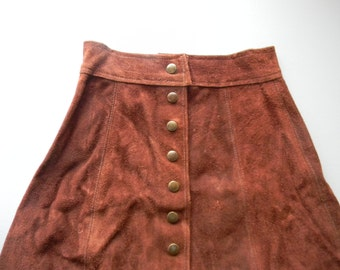 Vintage High Waisted Brown Leather Suede Skirt