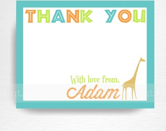 Mod Zoo Birthday Printable Digital Thank You Card YOU PRINT
