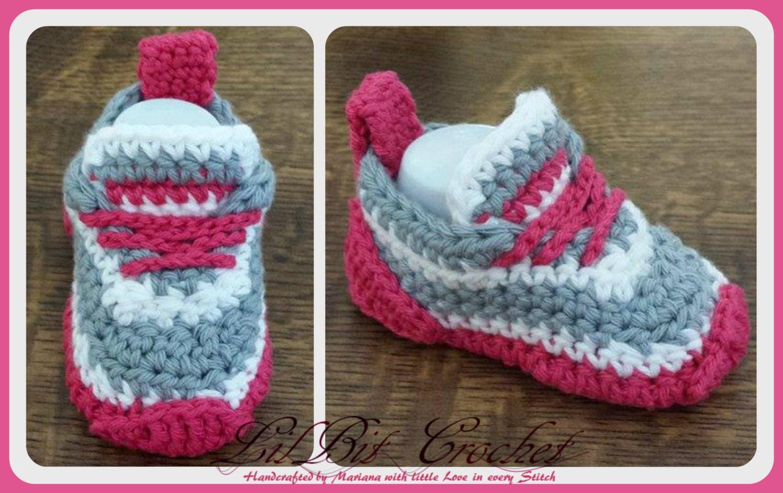 Handmade Crochet Baby Girl / Boy Trainers Booties Baby