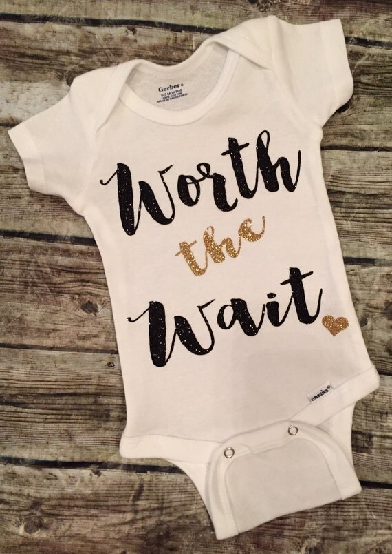 Worth the Wait Baby Girl Onesie Worth the Wait by ALGDezigns