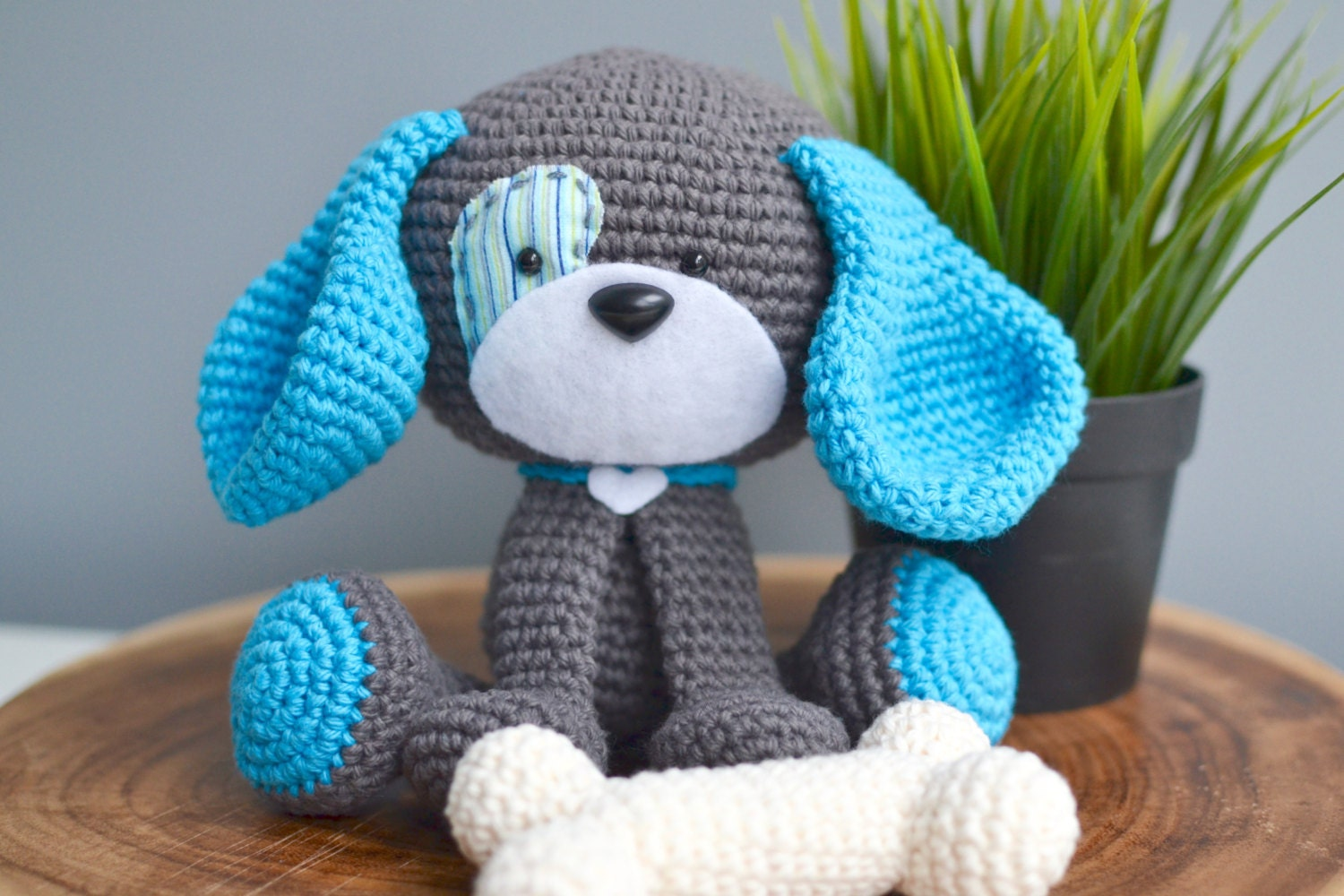 Crochet Patterns Pets : Cute Dog Crochet Pattern. Domino The Dog Amigurumi Crochet