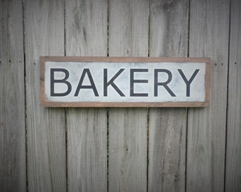 Bakery Wood Sign Kitchen Wooden Sign Hand Painted Distressed Wood Plaque