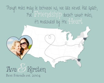 Personalized Gift for Friend, Best Friend Moving Away Gift, Long Distance Friendship Gift, Friendship Quote, Friend Map, Photo gift (4a)