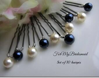 Bridal Peal Hair Pins. Wedding Ivory Navy Blue hairpins Updo.  Ivory Blue Pearl Bobby Pins. Wedding Hair Pins. 10 large Pearl Hair Pins