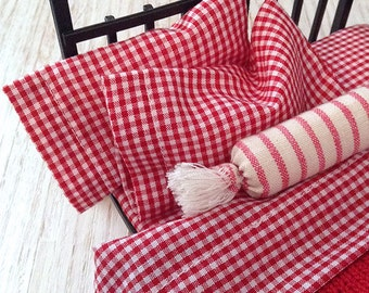 Shabby Chic Handmade Miniature Dollhouse Sheet Set - Red and White Check