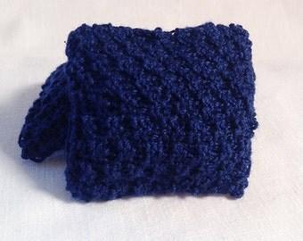 2 inch Hand Knitted Miniature Dollhouse Throw Pillow - Dark Blue
